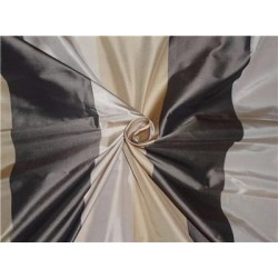 """100% Pure Silk Taffeta Fabric Gold,Caremel,Charcoal Stripes  54"""" wide sold by the yard"""
