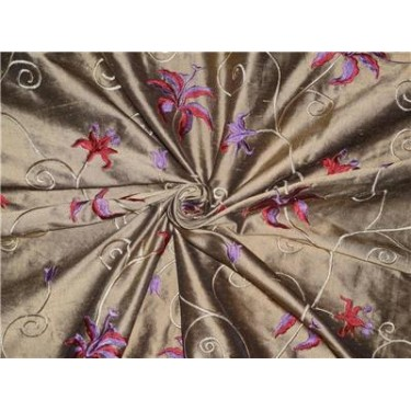 """54"""" wide Silk Dupioni Fabric Gold x black Red and purple pink Flower Embroidery"""