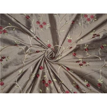 """54"""" Wide Silk Dupioni Fabric Brown,Gold x Red Green Flower Embroidery"""