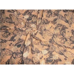 """Polyester  Georgette 44"""" Wide ~Peach x Black Printed Butterfly"""