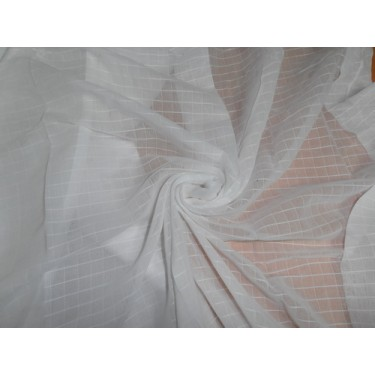 """WHITE COTTON VOILE 58"""" WIDE / plaid/dobby"""